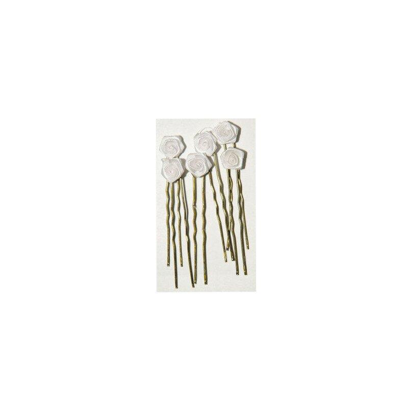 Image of Haarnadel Rose gold weiss 6 Stück
